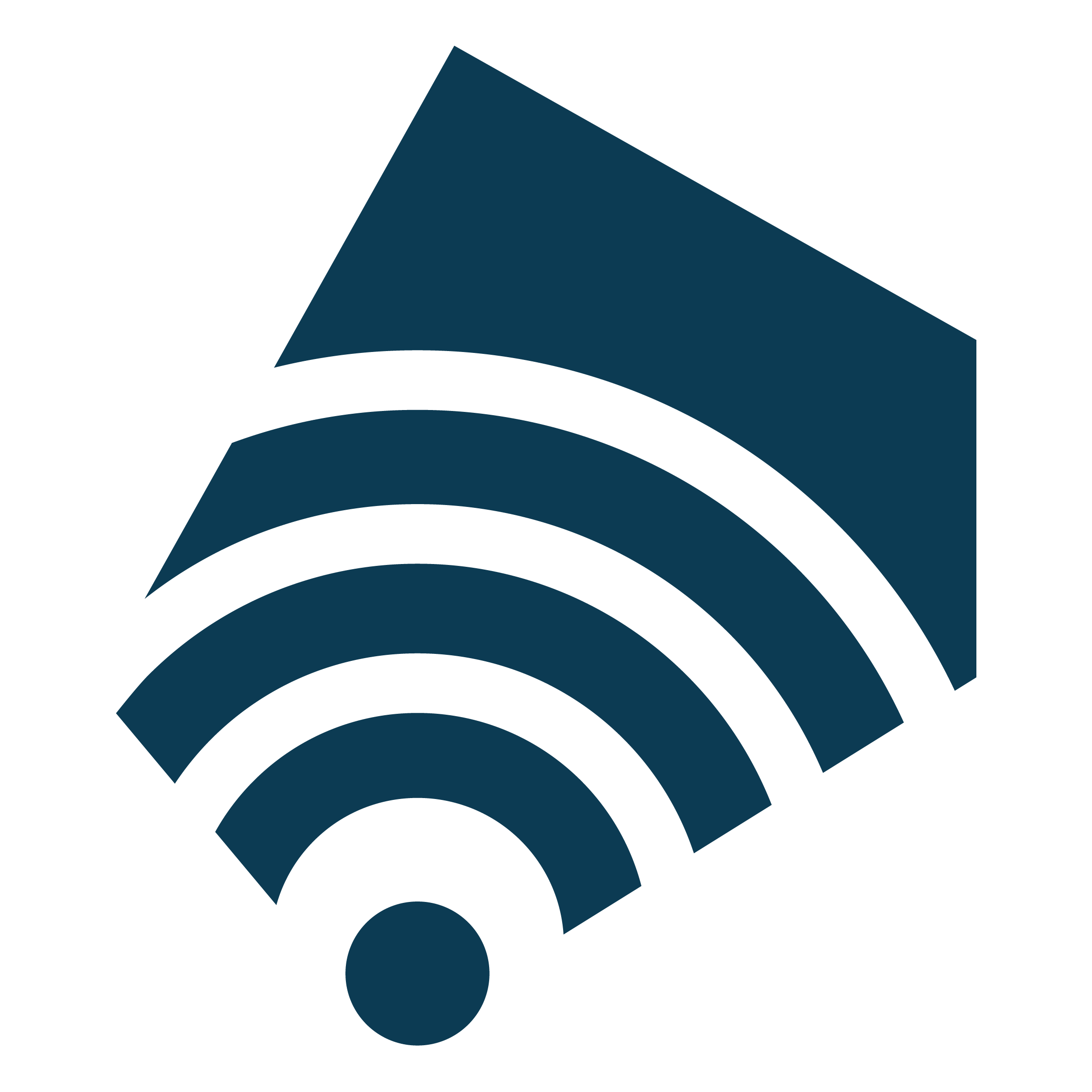 Logotyp projektu Więcej niż Filharmonia. Granatowy wielokąt oparty o logotyp Filharmonii Śląskiej połączony z piktogramem symbolizującym połączenie wi-fi