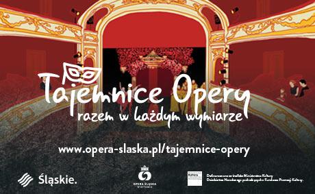 Kolorowa grafika przedstawiająca scenę w operze. Napis: Tajemnice opery. Razem w każdym wymiarze. www.opera-slaska.pl/tajemnice-opery