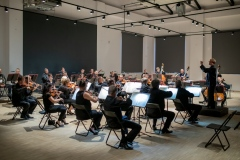 Orkiestra Symfoniczna Filharmonii Śląskiej pod batutą Szymona Bywalca, widocznego w oddali