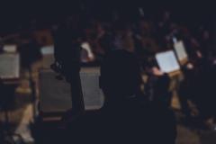 Ciemna sylwetka kontrabasisty Orkiestry Symfonicznej Filharmonii Śląskiej