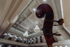 Gryf kontrabasu widoczny na tle sufitu sali koncertowej