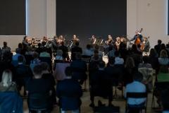 Śląska Orkiestra Kameralna w czasie gry, widoczna z ostatnich rzędów widowni