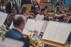Muzycy orkiestry, widoczni z perspektywy sceny.