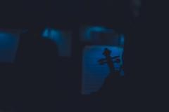 Zdjęcie utrzymane w błękitnych barwach, rozpoznawalne rysy skrzypiec trzymanych przez muzyków
