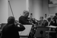 Czarno-białe zdjęcie. Boris Brovtsyn, Orkiestra Symfoniczna Filharmonii Śląskiej