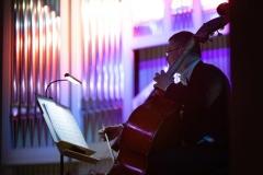 Kontrabasista przy oświetlonym lampką pulpicie, w tle kolorowo oświetlone organy