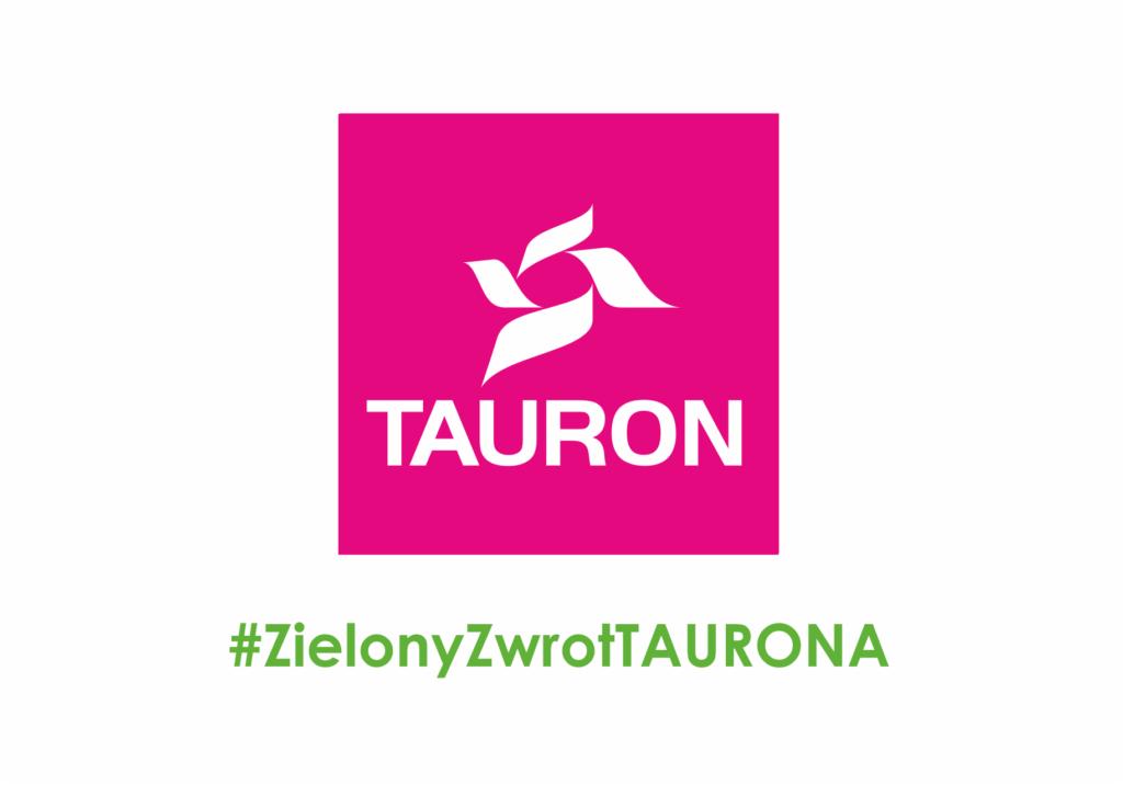 Logotyp sponsora - Tauron, hasztag zielony zwrot Taurona