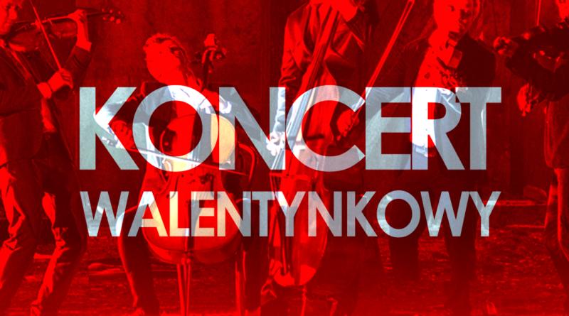 """Grafika utrzymana w czerwonej tonacji, przedstawiająca zespół VOŁOSI. Napis """"Koncert Walentynkowy"""""""