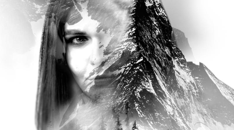 twarz kobiety wkomponowana w zaśnieżone szczyty gór - grafika EKO przedstawiająca Katarzynę Brol