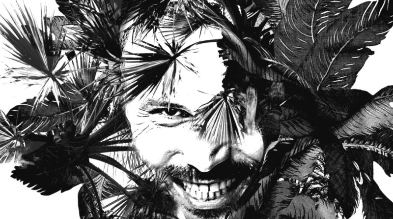 Tomasz Stencel - grafika eko - twarz mężczyzny wkomponowaną w egzotyczną roślinność. Grafika czarno-biała