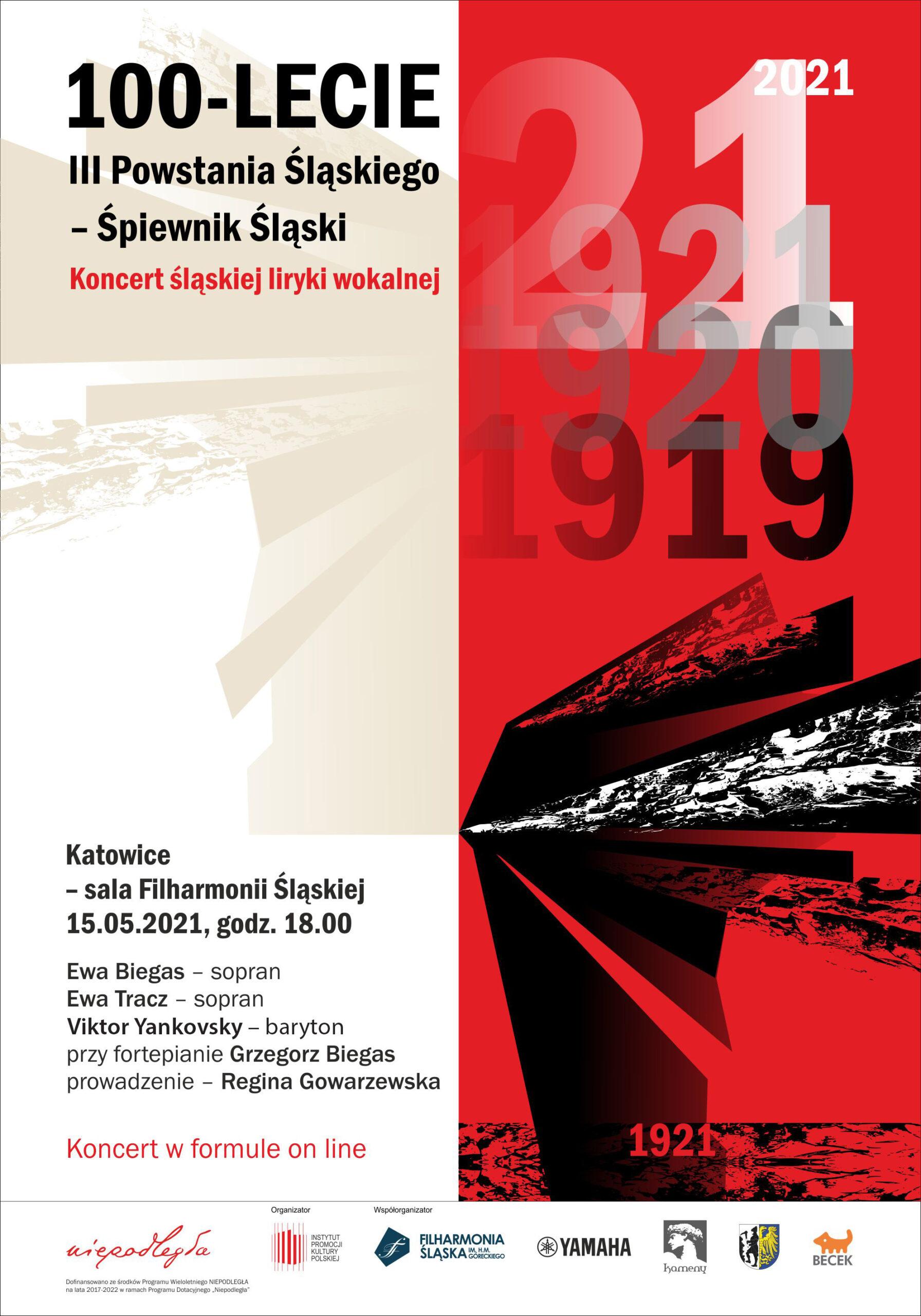Afisz koncertu z okazji 100-lecia III Powstania Śląskiego