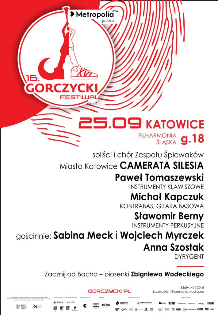 Afisz koncertowy z informacją o programie i wykonawcach, oparty o identyfikację wizualną Festiwalu im. G.G. Gorczyckiego
